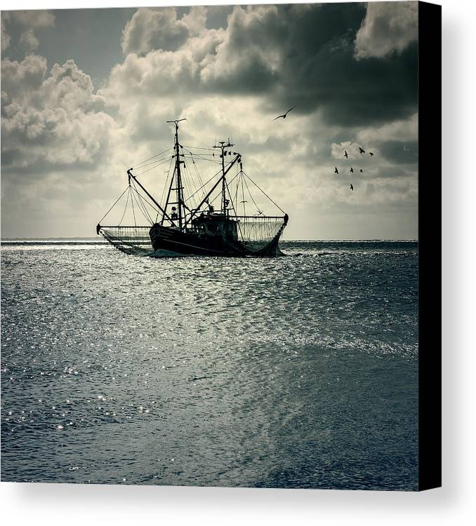 Sea Canvas Print featuring the photograph Fishing Boat by Joana Kruse