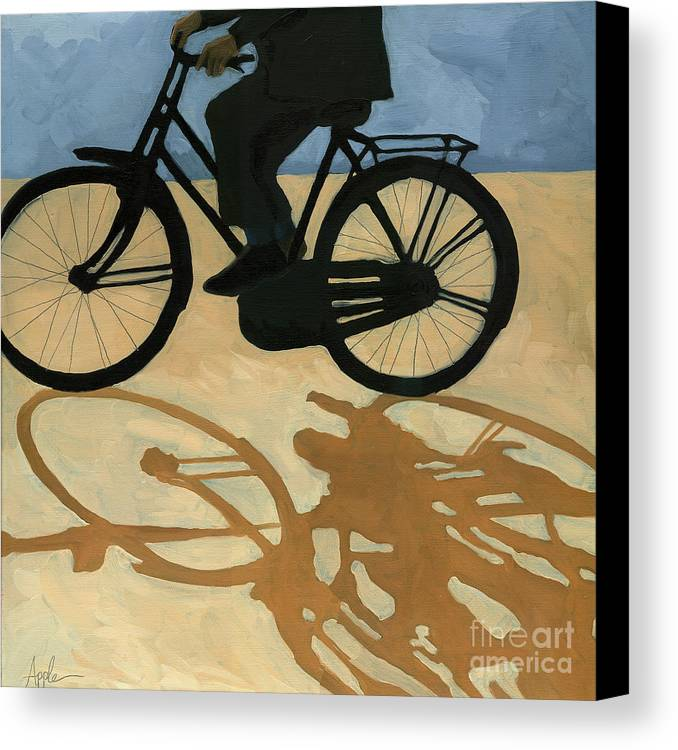People Paintings Canvas Print featuring the painting Off To Work - Painting by Linda Apple