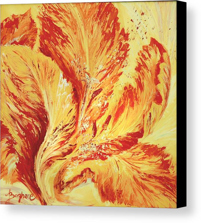 Flower Canvas Print featuring the painting Parrot Tulip by Aneta Berghane