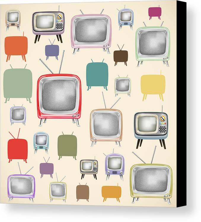 Analog Canvas Print featuring the painting retro TV pattern by Setsiri Silapasuwanchai