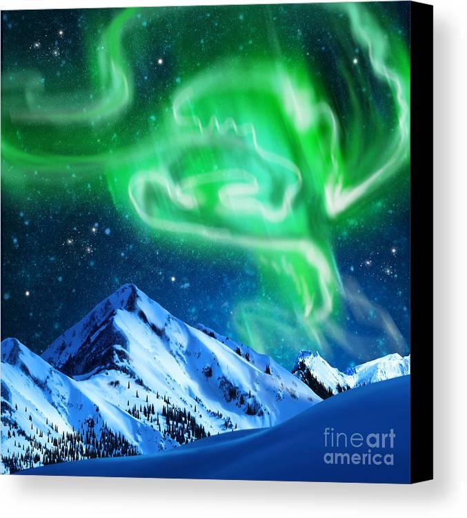 Above Canvas Print featuring the photograph Aurora Borealis by Setsiri Silapasuwanchai