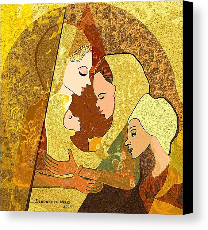 * Canvas Print featuring the painting 157 Three Women And A Child by Irmgard Schoendorf Welch