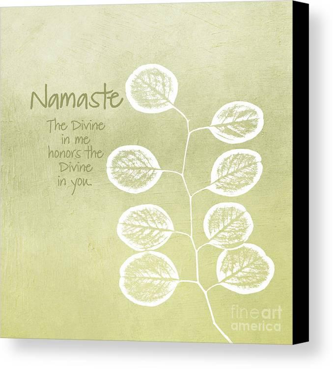 Namaste Canvas Print featuring the mixed media Namaste by Linda Woods