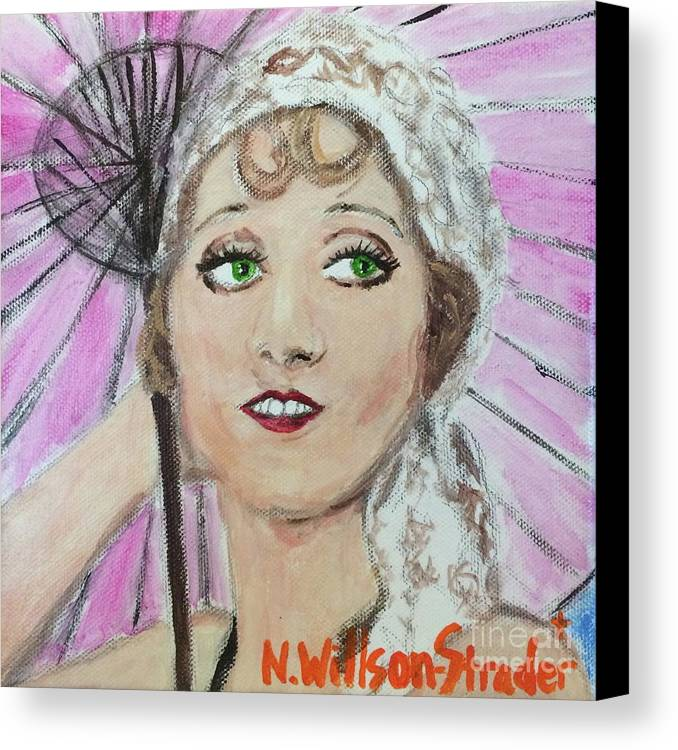 1920s Canvas Print featuring the painting 20's Glamour, Parasol by N Willson-Strader