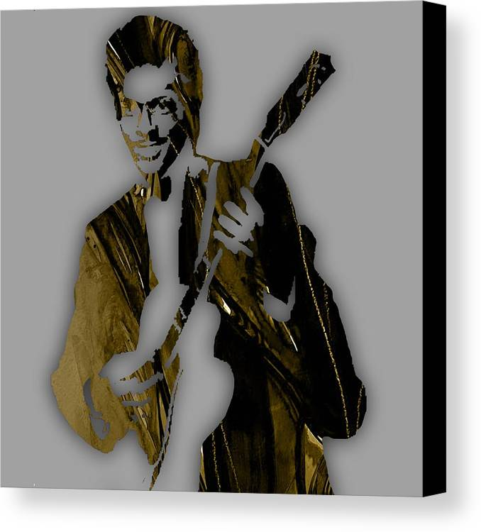 Chuck Berry Canvas Print featuring the mixed media Chuck Berry Collection by Marvin Blaine