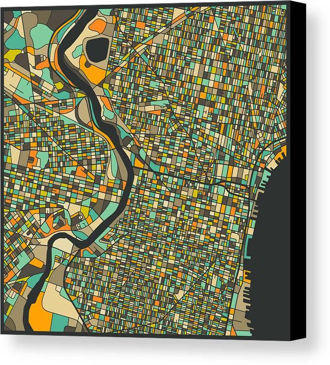 Philadelphia map canvas print canvas art by jazzberry blue philadelphia map canvas print featuring the digital art philadelphia map by jazzberry blue freerunsca Gallery