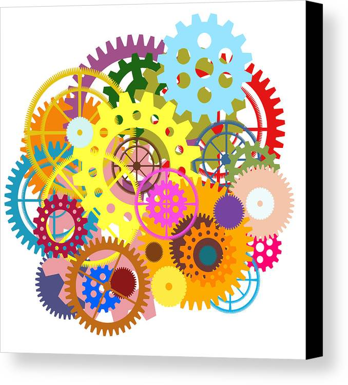 Art Canvas Print featuring the painting Gears Wheels Design by Setsiri Silapasuwanchai