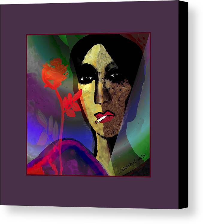 859 Canvas Print featuring the digital art 859 - Smoking May Damage Your Beauty 2017 by Irmgard Schoendorf Welch