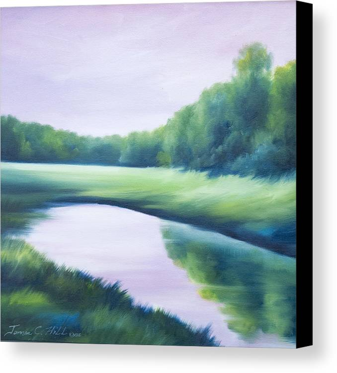 Nature; Lake; Sunset; Sunrise; Serene; Forest; Trees; Water; Ripples; Clearing; Lagoon; James Christopher Hill; Jameshillgallery.com; Foliage; Sky; Realism; Oils; Green; Tree; Blue; Pink; Pond; Lake Canvas Print featuring the painting A Day In The Life 1 by James Christopher Hill