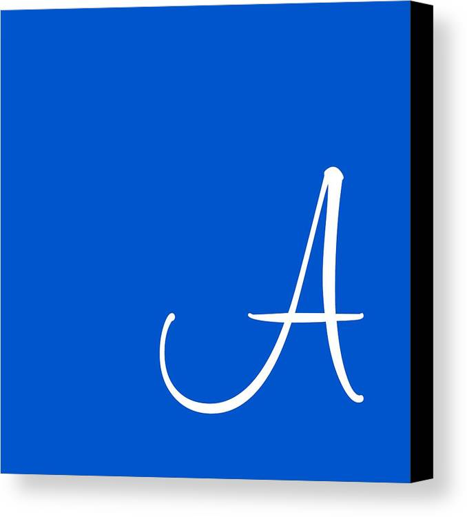 A Canvas Print featuring the digital art A In White Simple Script by Custom Home Fashions