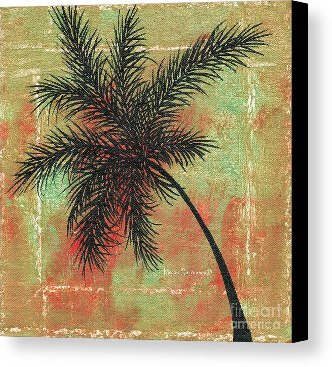 Floral Canvas Print featuring the painting Abstract Floral Fauna Palm Tree Leaf Tropical Palm Splash Abstract Art By Megan Duncanson by Megan Duncanson
