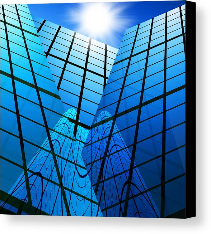 Abstract Canvas Print featuring the photograph Abstract Skyscrapers by Setsiri Silapasuwanchai