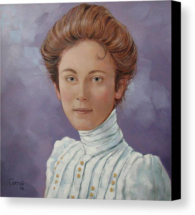 Posthumous Portrait Canvas Print featuring the painting Ada Douglas by Jerrold Carton