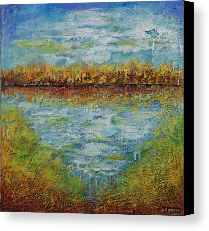 Water Canvas Print featuring the painting Another Lake. by Evgenia Davidov