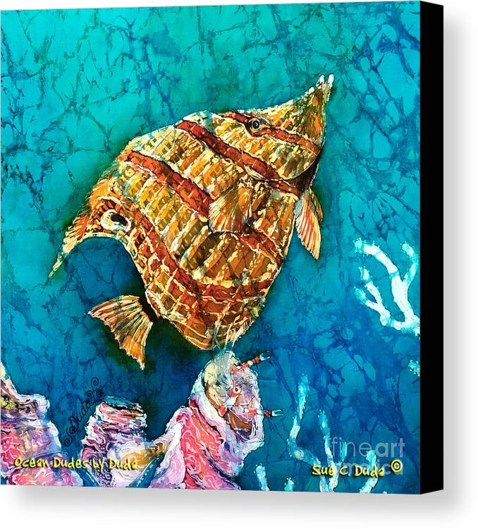 Beaked Butterflyfish Canvas Print featuring the painting Ascending by Sue Duda