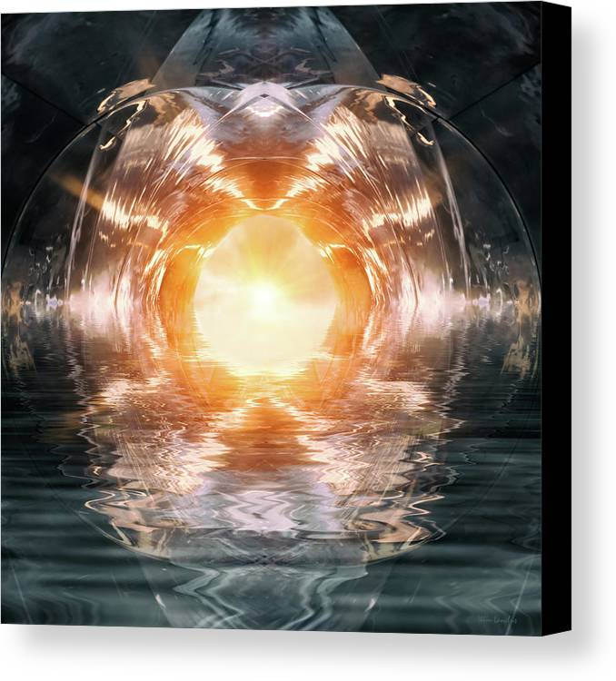 Abstract Canvas Print featuring the digital art At The End Of The Tunnel by Wim Lanclus