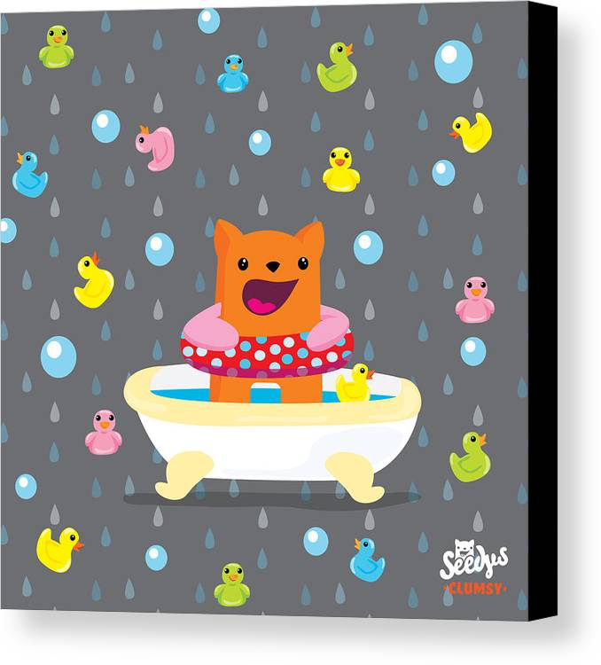 Rubber Duck Canvas Print featuring the digital art Bath Time by Seedys