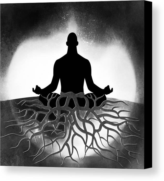 Spiritual Grounding Canvas Print featuring the digital art Black And White Spiritual Grounding by Serena King