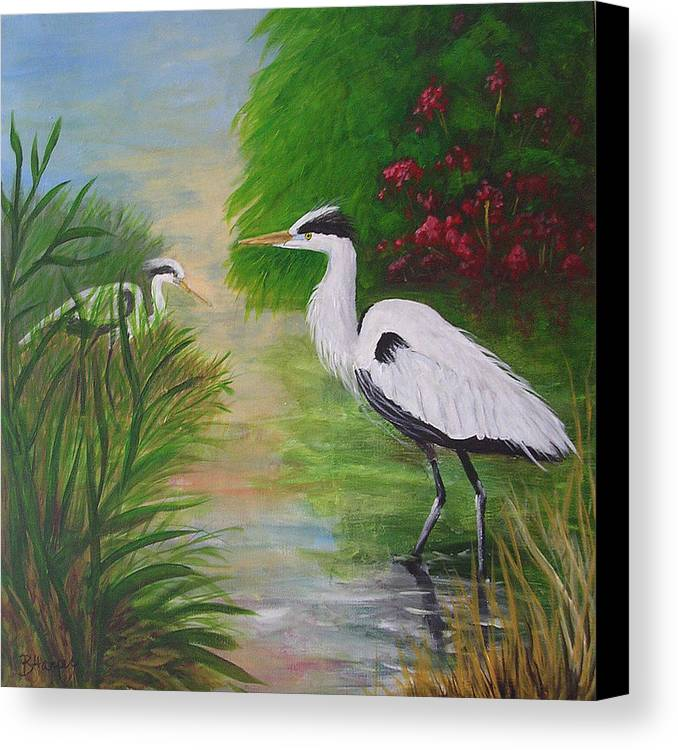 Heron Canvas Print featuring the painting Blue Herons by Barbara Harper
