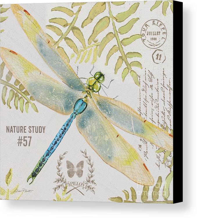 Jean Plout Canvas Print featuring the painting Botanical Dragonfly-jp3418b by Jean Plout
