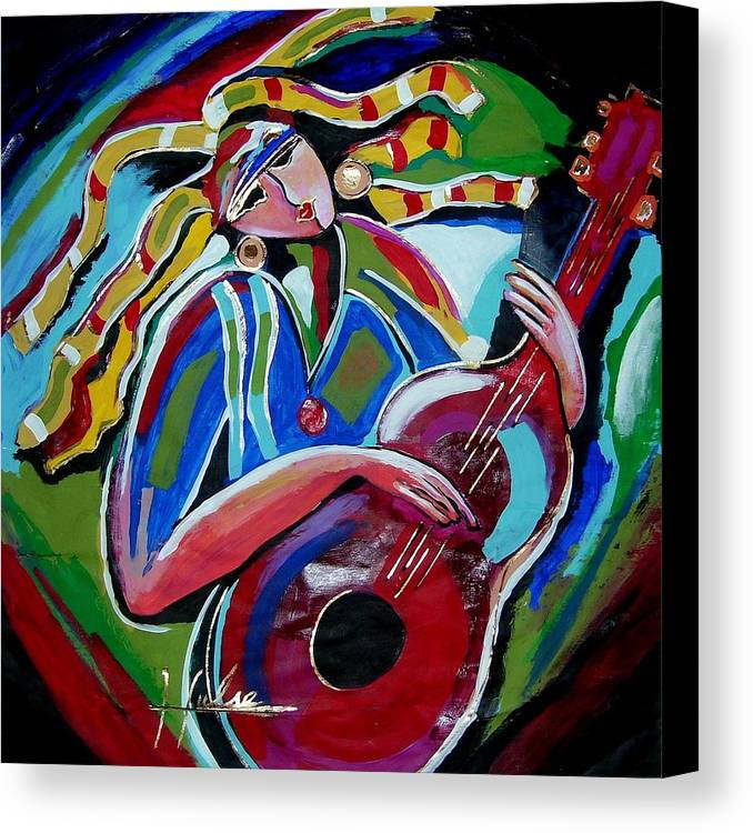 Music Canvas Print featuring the painting Breezy by Gina Hulse