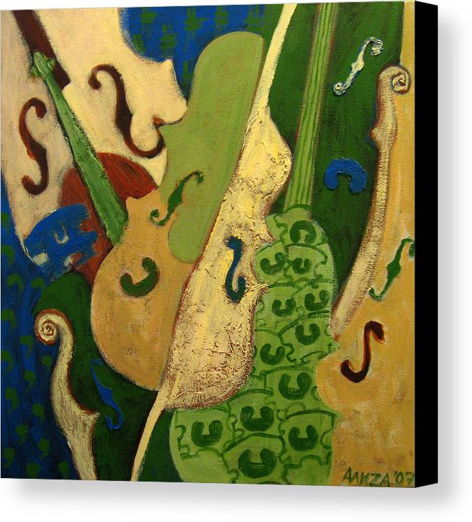 Music Canvas Print featuring the painting Bridge Over Trebled Waters by Aliza Souleyeva-Alexander