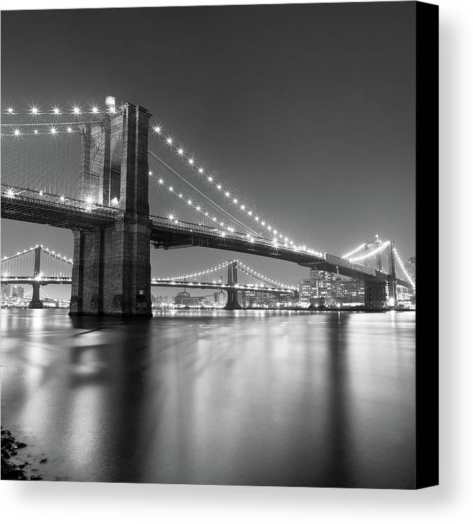 Square Canvas Print featuring the photograph Brooklyn Bridge At Night by Adam Garelick