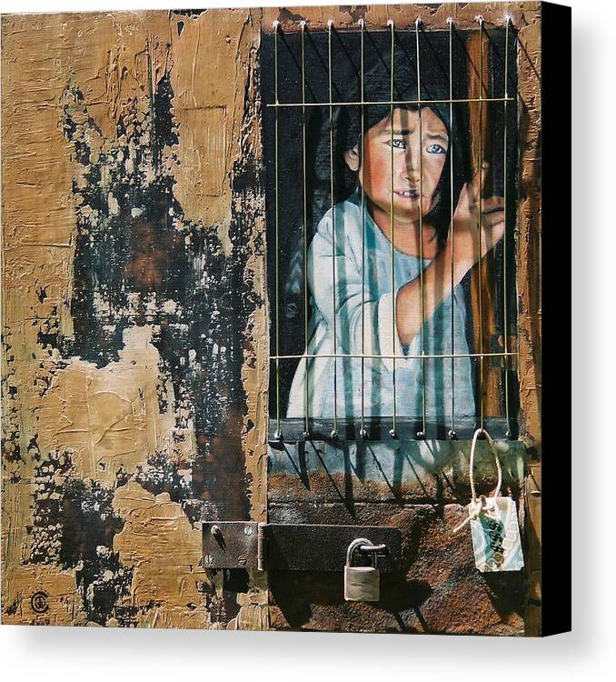 Asian Girl Canvas Print featuring the painting Captive by Teresa Carter