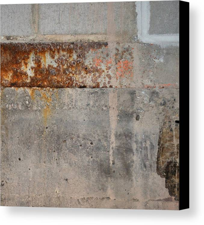 Concrete Canvas Print featuring the photograph Carlton 16 Concrete Mortar And Rust by Tim Nyberg