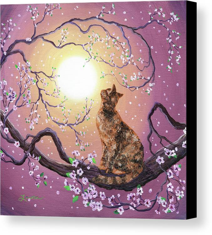 Zen Canvas Print featuring the painting Cherry Blossom Waltz by Laura Iverson