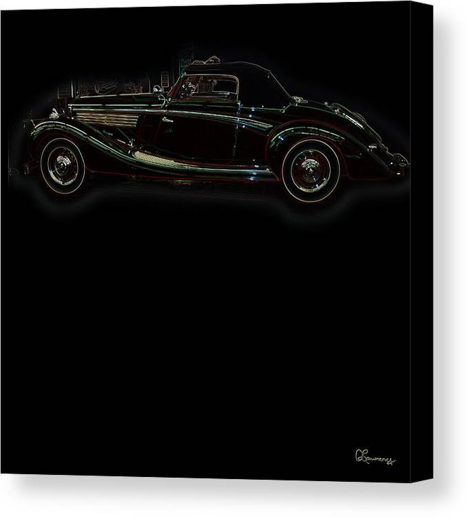 Classic Car Antique Show Room Vehicle Glowing Edge Black Light Chevy Dodge Ford Ride Canvas Print featuring the photograph Classic 6 by Andrea Lawrence