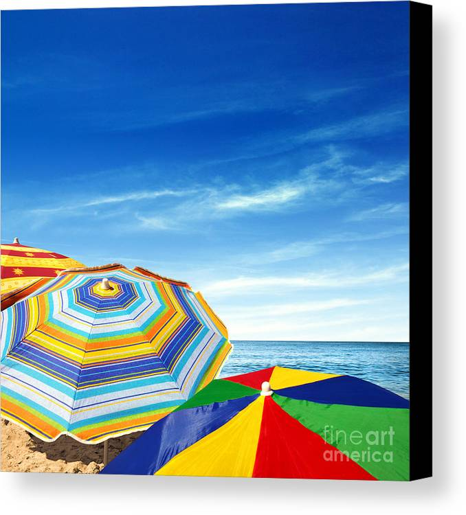 Abstract Canvas Print featuring the photograph Colorful Sunshades by Carlos Caetano