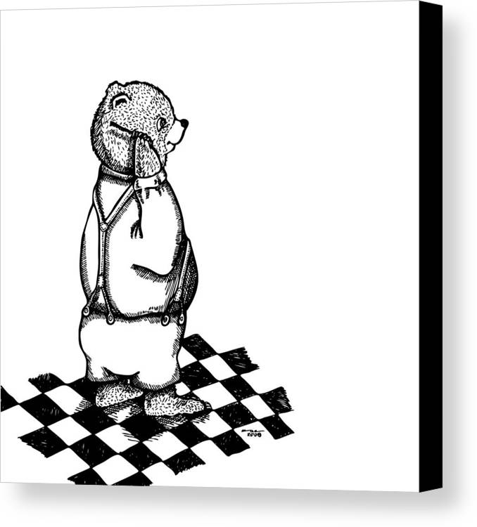 Drawing Canvas Print featuring the drawing Comb Bear by Karl Addison