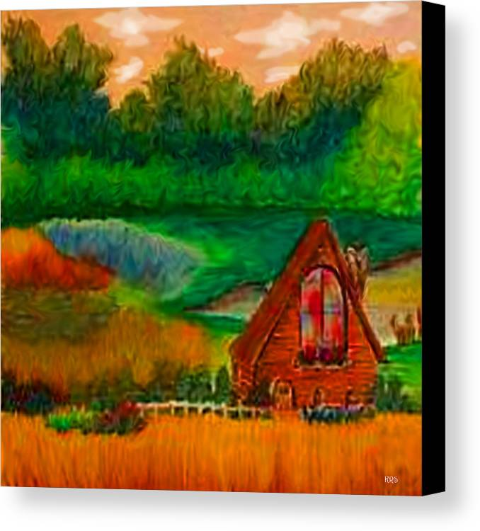 Landscape Canvas Print featuring the drawing Country by Karen R Scoville
