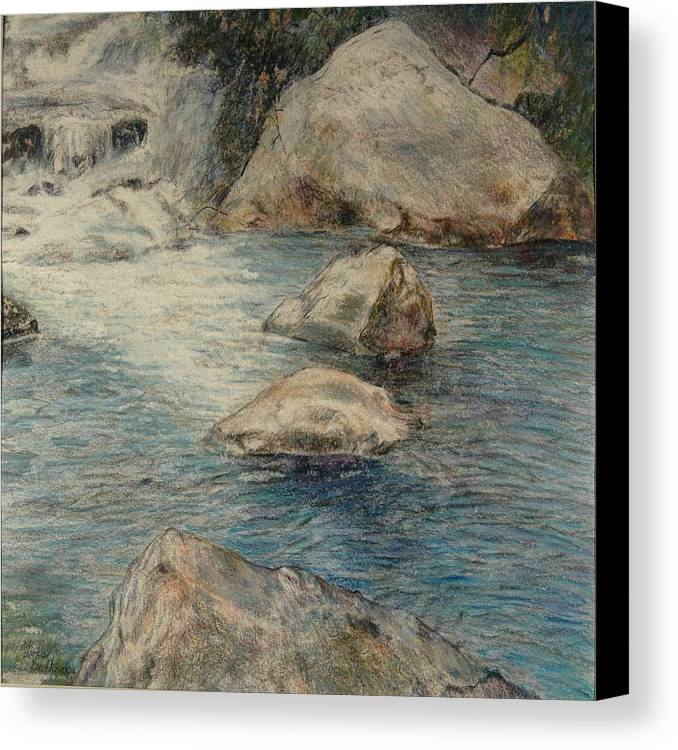 Colored Pencil Canvas Print featuring the drawing Crivitz Creek by Lois Guthridge