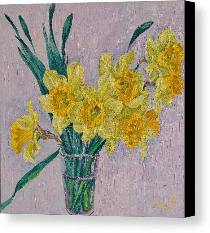 Daffodils Canvas Print featuring the painting Daffodils by Vitali Komarov