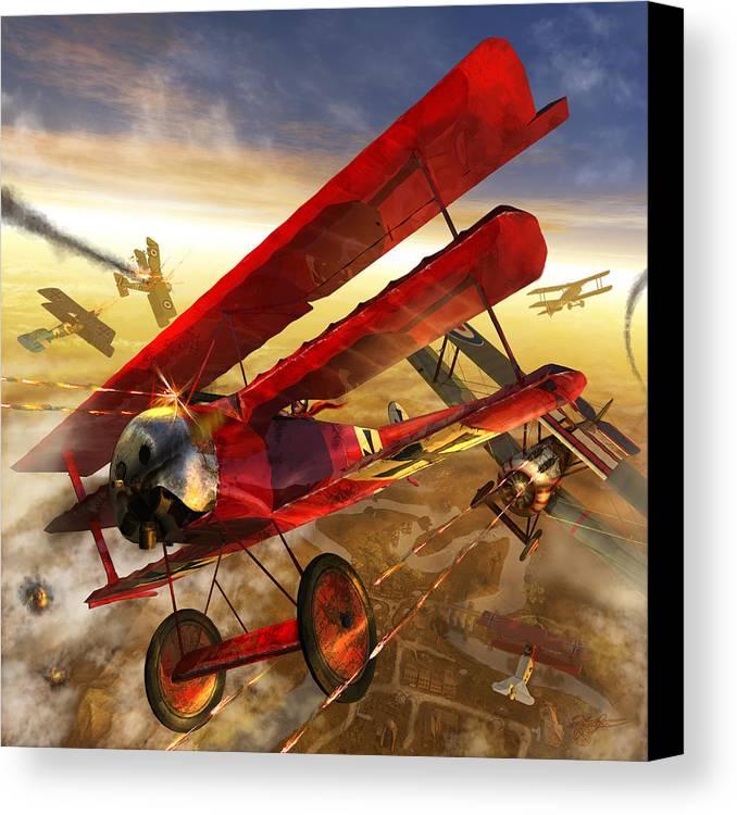 Bi Plane Canvas Print featuring the digital art Der Rote Baron by Kurt Miller