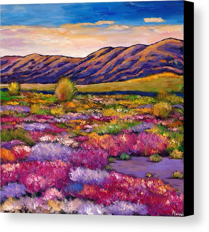 Arizona Canvas Print featuring the painting Desert In Bloom by Johnathan Harris