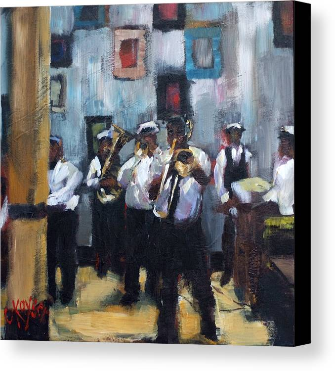New Orleans Canvas Print featuring the painting Dixieland Band by Claire Kayser