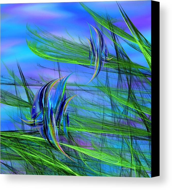 Abstract Impressionism Canvas Print featuring the digital art Dos Pescados En Salsa Verde by Wally Boggus
