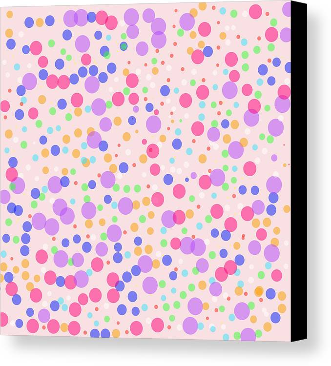 Pattern Canvas Print featuring the photograph Dots On Pink Background by Lena Photo Art
