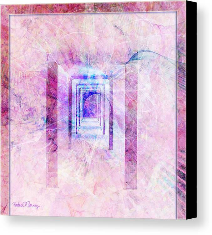 Pink Canvas Print featuring the digital art Down The Hall by Barbara Berney