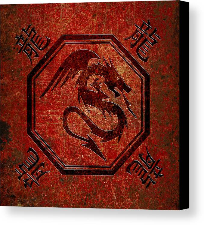 Dragon In An Octagon Frame With Chinese Dragon Characters Red Tint