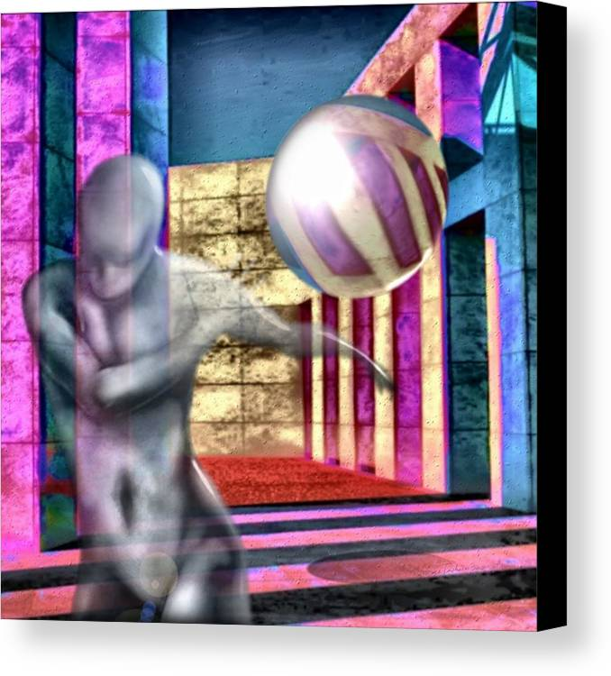 Playground Game Ball Colors Canvas Print featuring the digital art Dream Play by Veronica Jackson