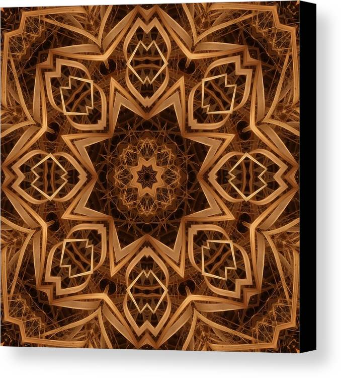 Kaleidoscope Canvas Print featuring the digital art Dried Grass Mandala by Lyle Hatch