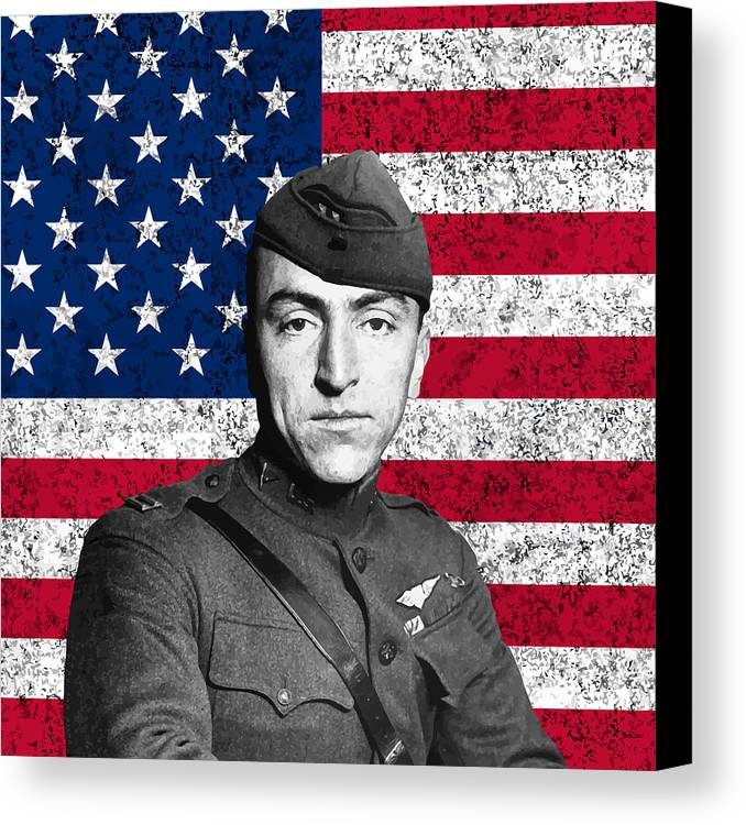 Eddie Rickenbacker Canvas Print featuring the painting Eddie Rickenbacker And The American Flag by War Is Hell Store