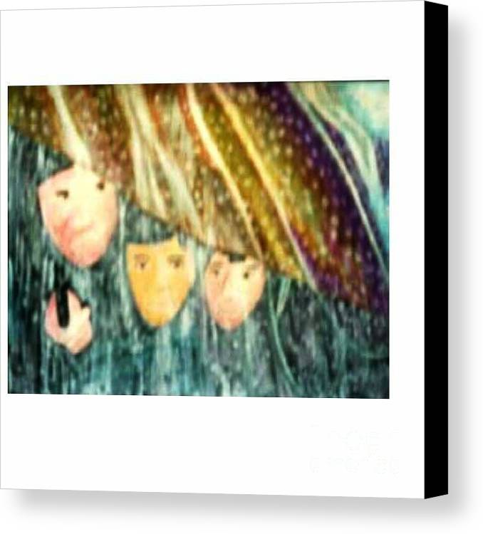 Portrait Canvas Print featuring the painting Escape From The Rain by Brenda L Spencer