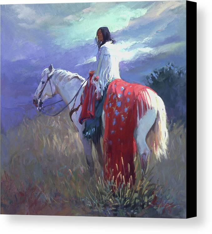Native American Canvas Print featuring the digital art Evening Solitude L. E. P. by Betty Jean Billups