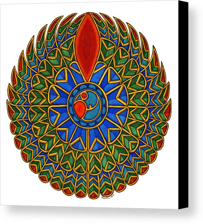 Falcon Canvas Print featuring the painting Falcon by Maureen Frank The Mandala Lady