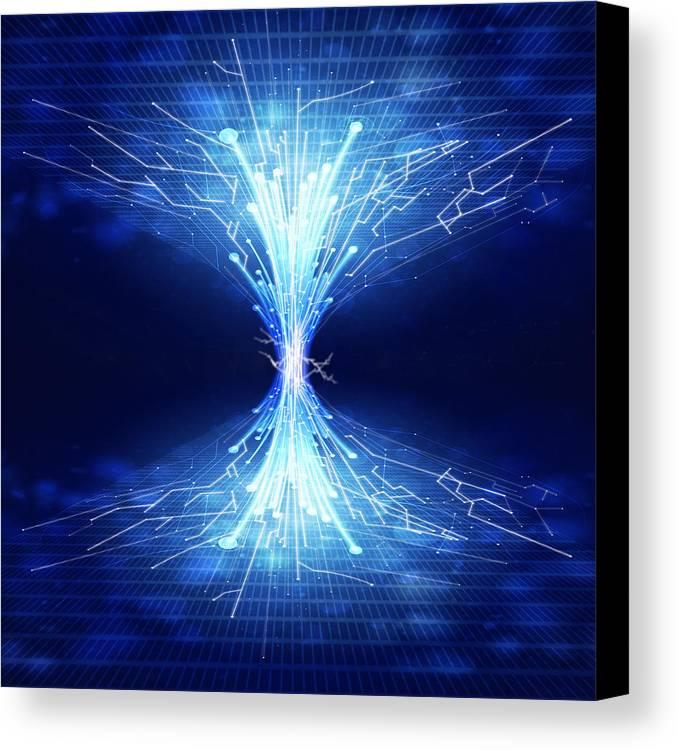 Abstract Canvas Print featuring the photograph Fiber Optics And Circuit Board by Setsiri Silapasuwanchai